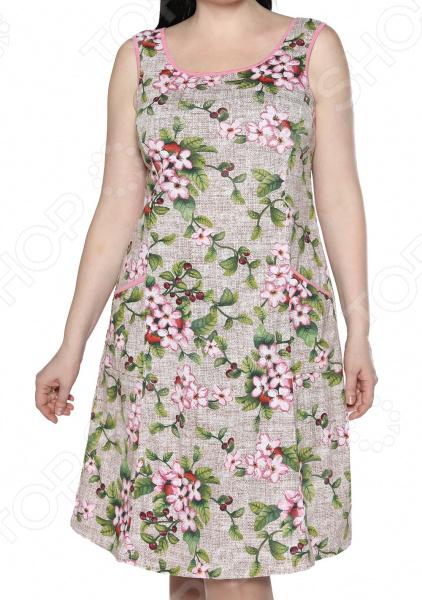 Платье Алтекс «Изобилие цветов». Цвет: бежевый, розовый