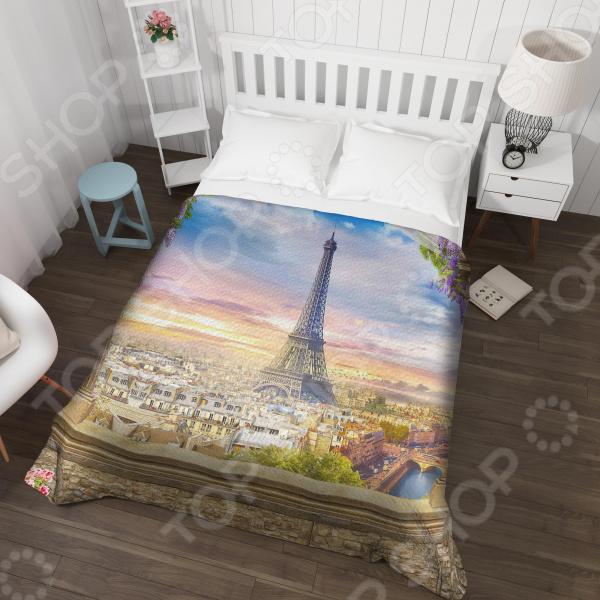цена Покрывало стеганное Сирень «Романтика Эйфелевой башни»