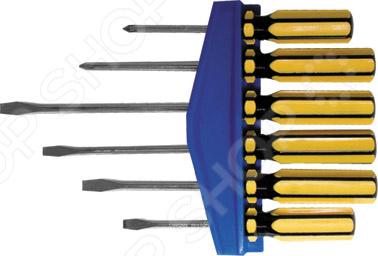 Набор отверток FIT 56006 состоит из шести инструментов с рабочими частями из хром-ванадиевой стали. Этот материал гарантирует высокую прочность и долговечность. Отвертки имеют удобные ручки из пластика. Товар поставляется вместе с пластиковым держателем для отверток. Профили:  PH1X75 мм, PH1X150 мм, PH2X100 мм, PH2X150 мм,  SL4X75 мм, SL5X100 мм.