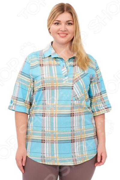 Рубашка Алтекс Клементина незаменимая вещь в гардеробе модницы. Создана для женщин практически любой комплекции, ведь особенности кроя помогают скрыть недостатки и подчеркнуть достоинства фигуры. Эта рубашка отлично подойдет для повседневного использования, она хорошо сочетается с юбками и брюками.  Отложной воротник в форме стойки.  Планка на 3-х пуговицах.  Один накладной карман на груди.  Рукав 3 4 с подворотом и с патой на застежке.  Длина ниже бедра.  На фотографии рубашка представлена в сочетании с брюками Габриэлла . Рубашка выполнена из легкой ткани, состоящей на 100 из хлопка. Рекомендуется ручная стирка или машинная в деликатном режиме при температуре 30-40 C .