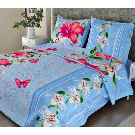 Купить Комплект постельного белья Fiorelly «Лилии». 1,5-спальный. Цвет: синий