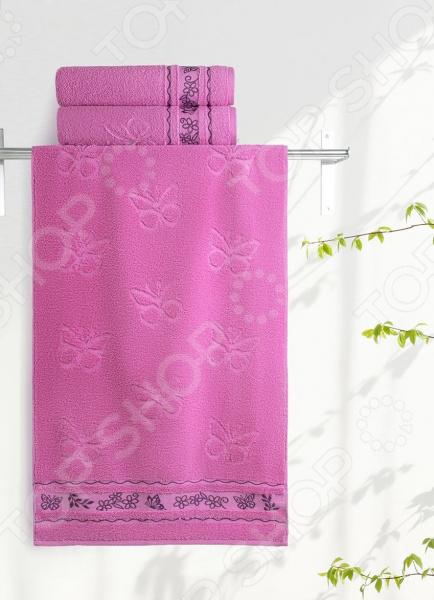 Zakazat.ru: Полотенце махровое Aquarelle «Бабочки». Цвет: орхидея
