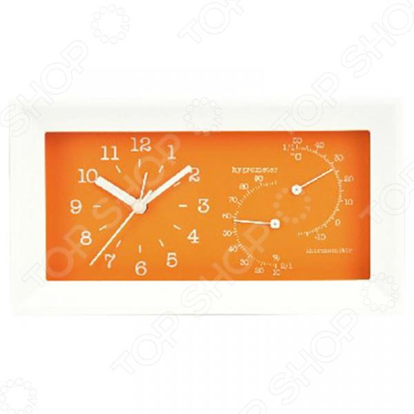 Будильник с термометром и гигрометром Вега 6714