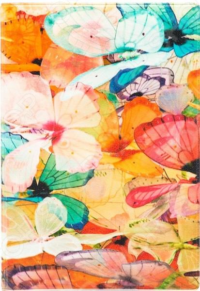 Обложка для автодокументов кожаная Mitya Veselkov «Цветные бабочки»