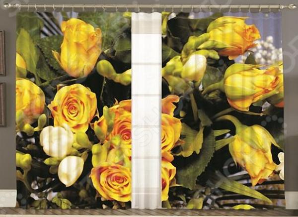 Комплект фотоштор с тюлем «Желтые розы»