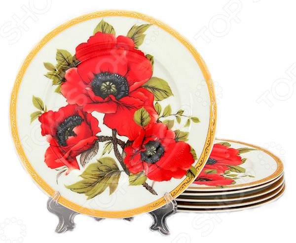 Набор тарелок Elan Gallery Маки красочная посуда с высококачественным покрытием, которая внесет разнообразие в сервировку семейного стола. Станет отличным подарком для любителей стильных вещей. Материал абсолютно безопасен и не вступает в реакцию с продуктами, а так же не влияет на запах и вкус.