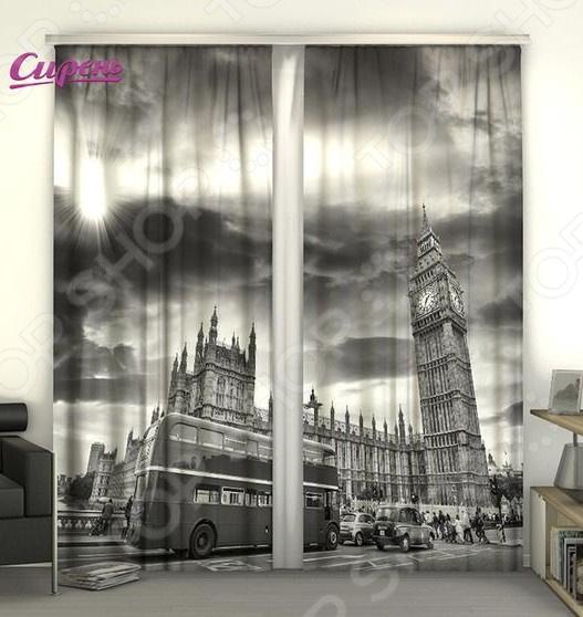 Фотошторы Сирень «Движение Лондона» фотошторы символ лондона сирень фотошторы символ лондона