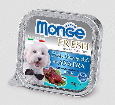 Корм консервированный для собак Monge Fresh Pate e Bocconcini con Anatra