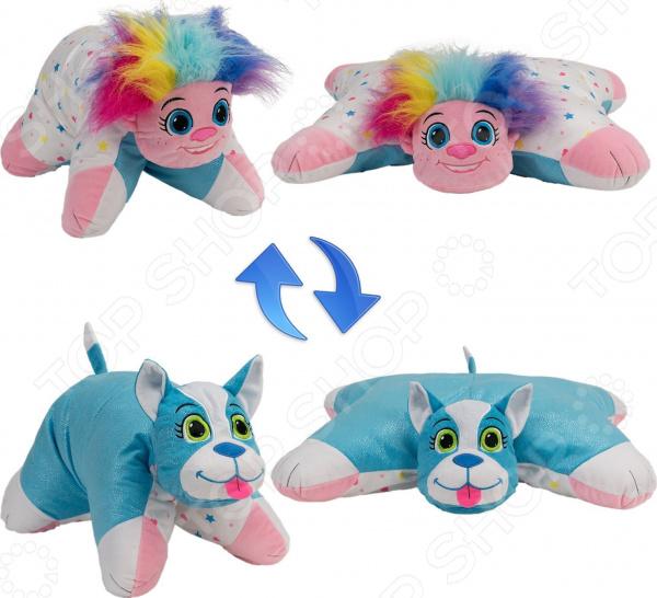 Подушка-игрушка 1 Toy «Вывернушка 2в1: Радужный Тролль-Блестящий Щенок» цена в Москве и Питере