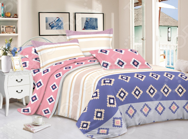 Комплект постельного белья «Уютный сон». 2-спальный. Рисунок: ромбы