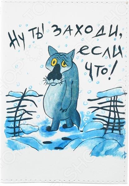 Обложка для автодокументов кожаная Mitya Veselkov «Волк из мультика»