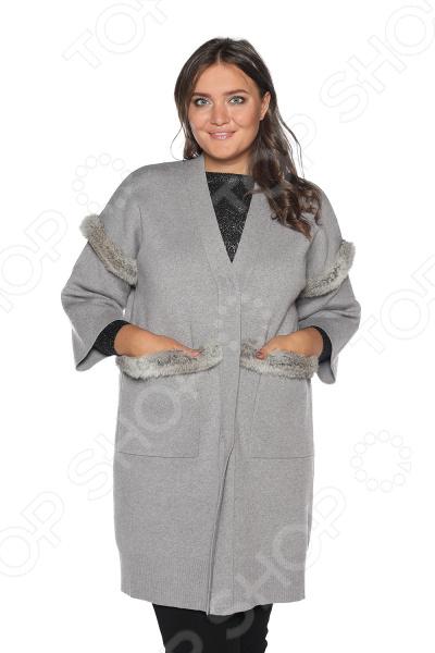 Кардиган Milana Style «Званый вечер». Цвет: серый кардиган женский milana style цвет темно бежевый 34359 размер 60