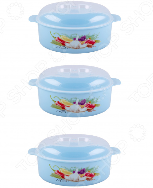 Набор кастрюль для СВЧ-печи Полимербыт с рисунком. Цвет: голубой