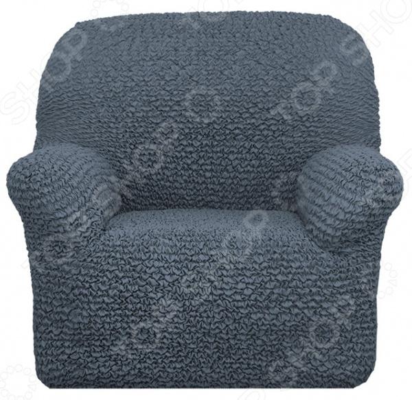 Натяжной чехол на кресло Еврочехол «Микрофибра. Пепельно-Серый»