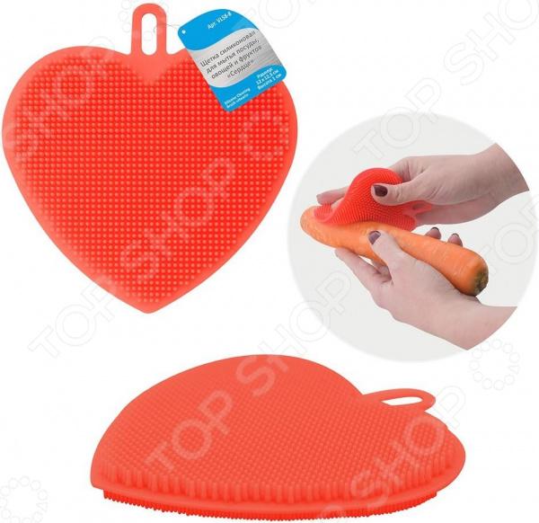 Щетка силиконовая для мытья посуды, овощей и фруктов Мультидом «Сердце» VL58-8 щетка для жалюзи мультидом