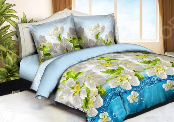 Комплект постельного белья «Сладкий сон». 1,5-спальный. Рисунок: белые цветы