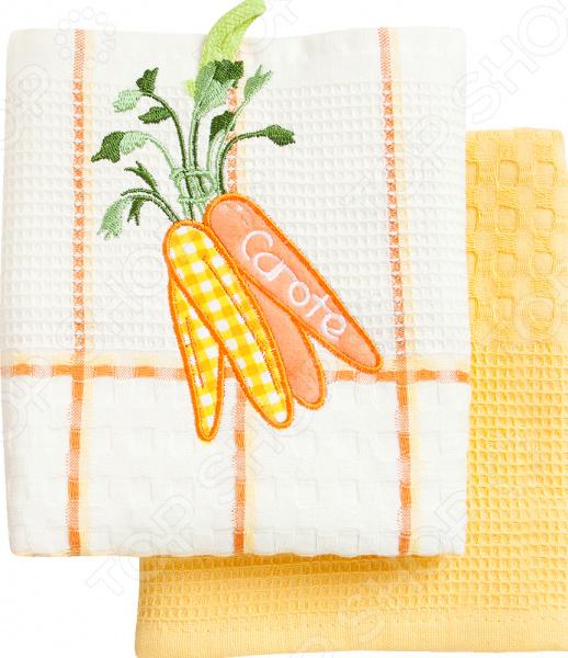 Комплект из 2-х кухонных полотенец BONITA «Морковь» ткань для полотенец оптом в москве