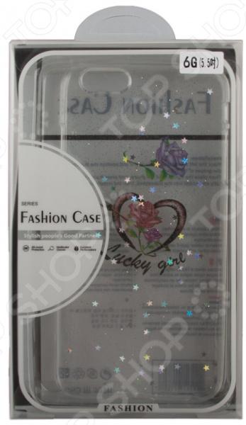 Чехол для iPhone 6/6S Plus с блестками «Сердце» Lucky Girl