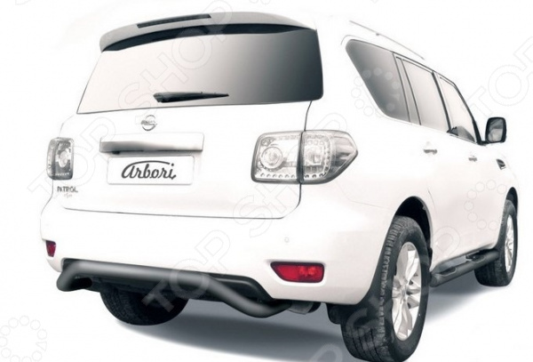 Защита заднего бампера Arbori «Скоба» для Nissan Patrol, 2012-2014 2qty задний багажник потрясений распорки для nissan 350z 2004 2007 кабриолет только