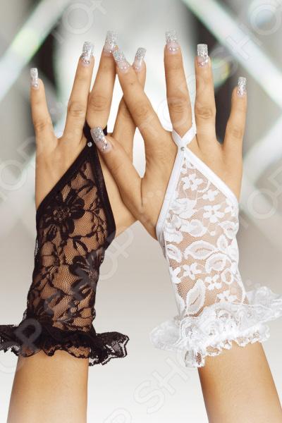 Перчатки декоративные кружевные короткие