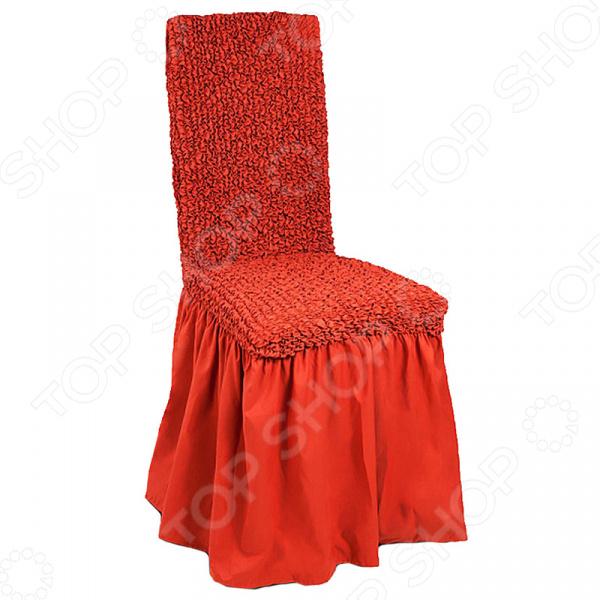 Zakazat.ru: Натяжной чехол на стул с юбкой Еврочехол «Микрофибра. Терракотовый»
