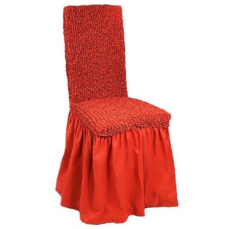 Купить Натяжной чехол на стул с юбкой Еврочехол «Микрофибра. Терракотовый»