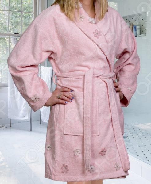 Халат махровый женский Hobby Home Collection Janet. Цвет: светло-розовый
