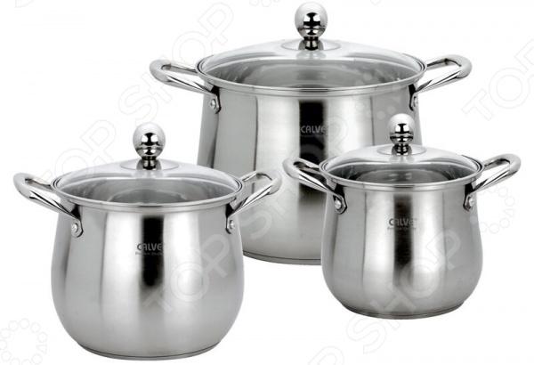 Набор кастрюль Calve CL-4136 набор кухонной посуды calve с подставкой 5 предметов cl 1829