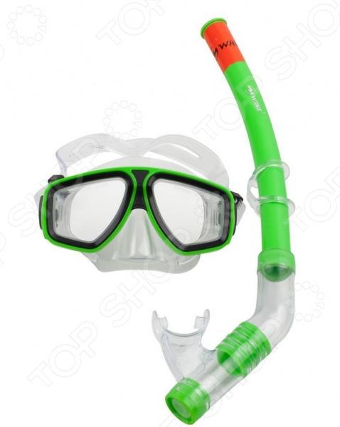 Набор из маски и трубки WAWE MS-1314S6 Набор из маски и трубки WAWE MS-1314S6 /Зеленый/Черный