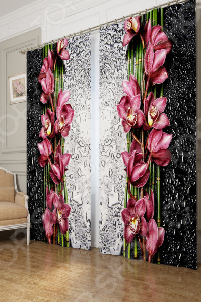 Фотошторы блэкаут Сирень «Распустившаяся орхидея»