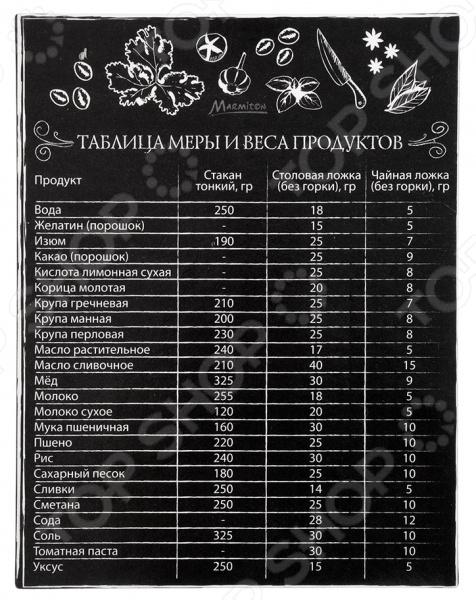 Магнит-шпаргалка Marmiton «Таблица меры и веса продуктов» 16174 кисточка из силикона с дозатором marmiton 12113