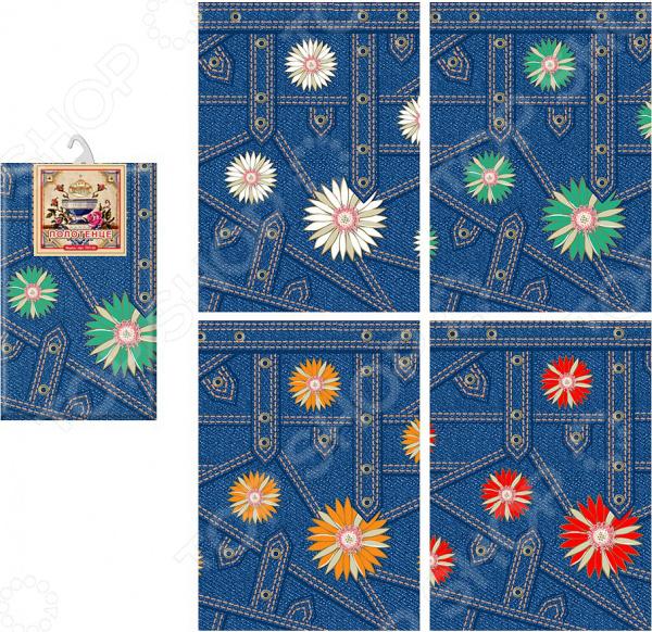 Полотенце кухонное Мультидом «Джинс-цветы» МТ71-105. В ассортименте