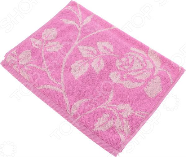 Полотенце махровое Aquarelle «Розы вид 2». Цвет: нежно-розовый, орхидея