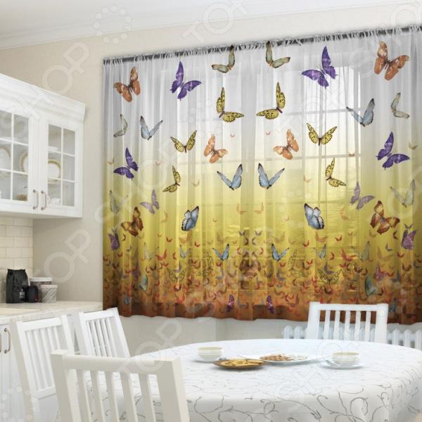 Уютная комната это не только мягкие диваны и кресла, но и красивый домашний текстиль. Именно он позволяет создать в комнате приятную и теплую атмосферу! Легкий летящий тюль это незаменимый элемент в текстильном оформлении окна. Он не уменьшает количество естественного света в помещении, а позволяет сделать его немного мягче. Этот простой элемент домашнего текстиля способен преобразить комнату, сделав её немного уютней, светлее и больше. Новинка в мире фотоштор Фототюль Zlata Korunka Butterfly это идеальный вариант для вашей кухни или дачи! Легкие и качественные изделия не только стильно оформят оконное пространство, но и позволят правильно расставить акценты в интерьере, скрыть небольшие недостатки в отделке. Отлично впишется в любой интерьерный стиль. Легкий и тонкий тюль выполнен из шифоновой ткани высочайшего качества. Этот материал традиционно используется для этого вида домашнего текстиля.  Достоинства тюля из шифона  Переплетение синтетических нитей делает его очень прочным и износостойким.  Гладкая поверхность практически не блестит на солнце, поэтому тюль приобретает благородный внешний вид.  Легко подается драпировке за счет своей легкой и пластичной структуры ткани.  Прекрасно пропускает солнечный свет.  Не выгорает на солнце и не теряет свой цвет после многочисленных стирок.  Легкий уход. Для неповторимого уюта на кухне! Благодаря изысканному дизайну с интересным фоторисунком, данная модель может использоваться в качестве самостоятельного украшения окна. Яркий и красочный рисунок придется по нраву тем, кто предпочитает классику или более современный дизайн. Парящий тюль придаст нежность и воздушность интерьеру, избавит вас от ощущения загруженности интерьера, визуально увеличит помещение и сделает более комфортным для отдыха. Тюль рекомендуется стирать при температуре 30 С в режиме бережной стирки и гладить при температуре 150 С в режиме шелк .