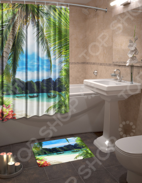 Набор для ванной комнаты: шторка и коврик ТамиТекс «Сейшелы»