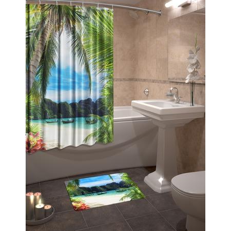 Купить Набор для ванной комнаты: шторка и коврик ТамиТекс «Сейшелы»
