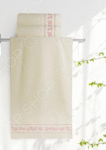 Полотенце махровое Aquarelle «Бабочки». Цвет: ванильный полотенце махр aquarelle исландия 40х70см ваниль