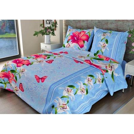 Купить Комплект постельного белья Fiorelly «Лилии». Цвет: синий. Евро