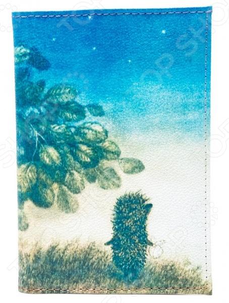 Обложка для автодокументов кожаная Mitya Veselkov «Ежик ночью»