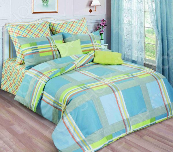 Zakazat.ru: Комплект постельного белья Guten Morgen 644. 1,5-спальный. Цвет: голубой, салатовый