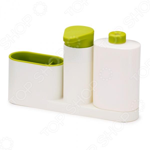 Органайзер для раковины с дозатором и бутылочкой Joseph Joseph SinkBase Plus великолепное дополнение к вашей кухонной утвари. С его помощью вы сможете правильно и гармоничного распределить, организовать пространство рядом с кухонной раковиной, где бывает скапливается всякая мелочь, будь-то губки для мытья посуды, щетки и бутылки с моющим средством. Теперь все средства для мытья можно хранит в одном месте! Органайзер состоит из удобного дозатора для жидкого мыла, бутылочки для моющего средства и подставки с двумя отделениями. Разбирается для легко чистки. Главным достоинством данной модели является её компактный и продуманный дизайн, благодаря которому её можно расположить даже на узкой стороне раковины. Чтобы изделие прослужило вам как можно дольше, его рекомендуется мыть только вручную.
