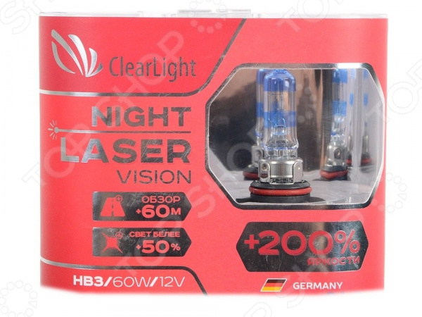 Комплект автоламп галогенных ClearLight Night Laser Vision HB3