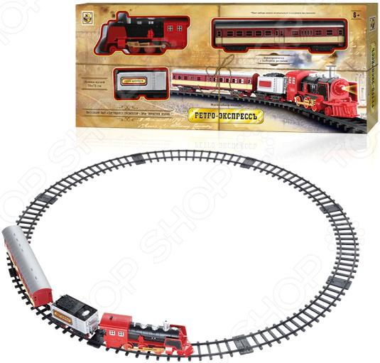 Набор железной дороги со светозвуковыми эффектами 1 Toy «Ретро-Экспресс» с 2-мя вагонами машинки hti паровозик roadsterz синий с вагоном звуковыми и световыми эффектами