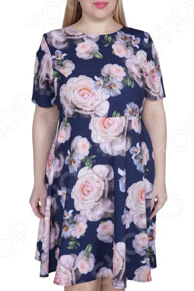 Платье ТРЕНД «Нежная особа». Цвет: синий, розовый платье тренд стильный силуэт цвет бордовый