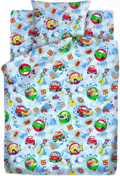 Детский комплект постельного белья Непоседа «Машинки» комлев и ковыль