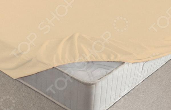 Простыня на резинке Ecotex махровая. Цвет: персиковый
