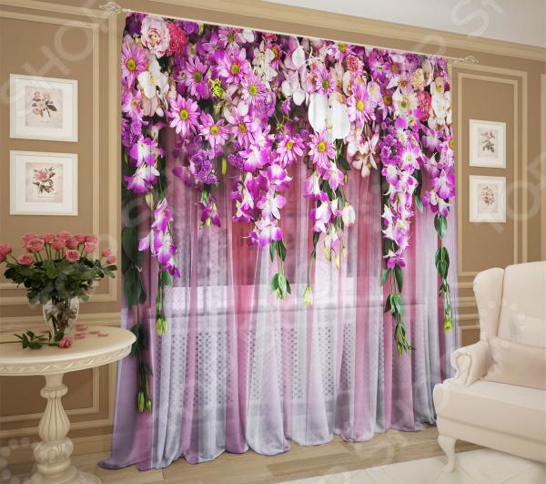 Комплект тюля ТамиТекс «Букет цветов»