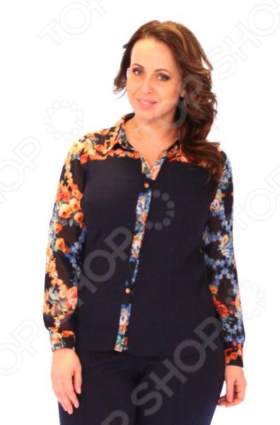 Блузка Блуза Salvi «Дамское счастье». Цвет: синий