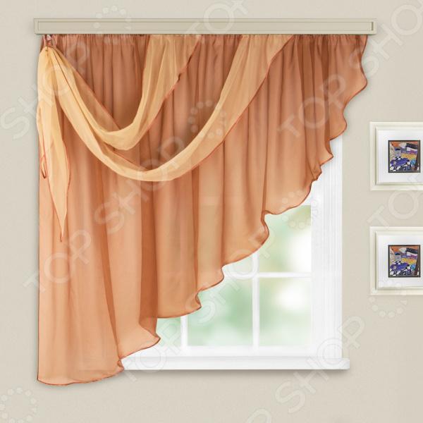 Комплект легких штор левосторонний WITERRA «Азалия». Цвет: какао