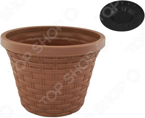 Кашпо круглое с дренажем Violet «Ротанг». Цвет: какао